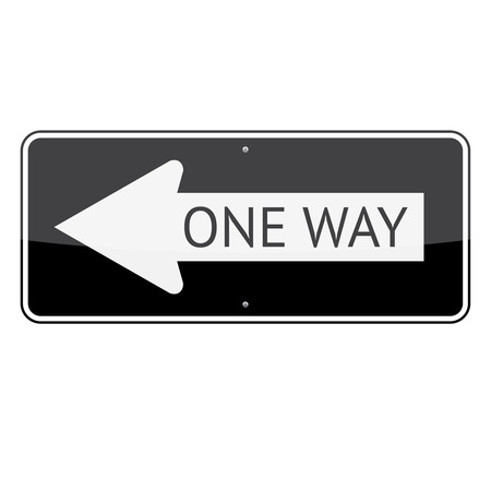 one way: One way traffic sign (left) isolated on white background