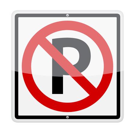 Ninguna se�al de tr�fico de estacionamiento aislado en fondo blanco