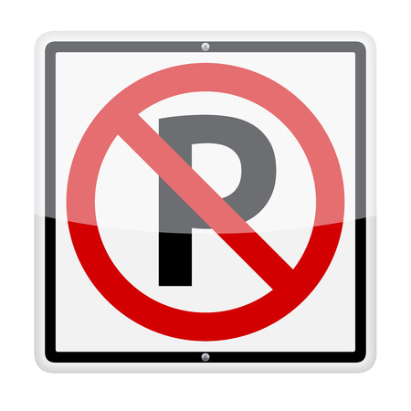 No parking traffic sign isolated on white background Illustration