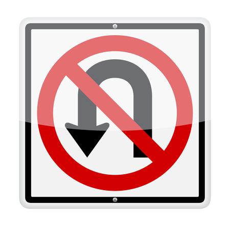 u turn: No U-turn traffic sign isolated on white background