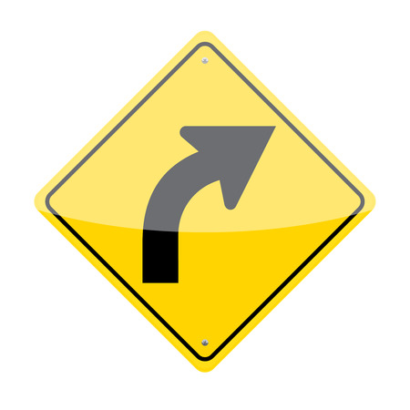 curve ahead sign: Right curve traffic sign isolated on white background