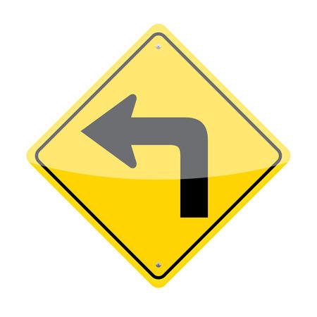 Left turn traffic sign isolated on white background Illustration