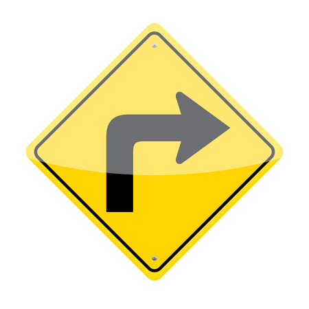 Rechtsaf verkeersbord op een witte achtergrond Stock Illustratie