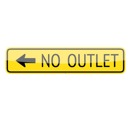 No outlet traffic sign (left) isolated on white background
