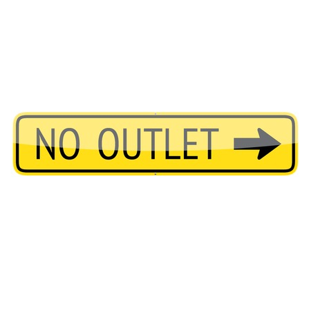 culdesac: No outlet traffic sign (right) isolated on white background Illustration
