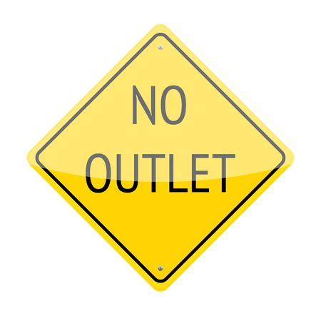 culdesac: No outlet traffic sign isolated on white background Illustration