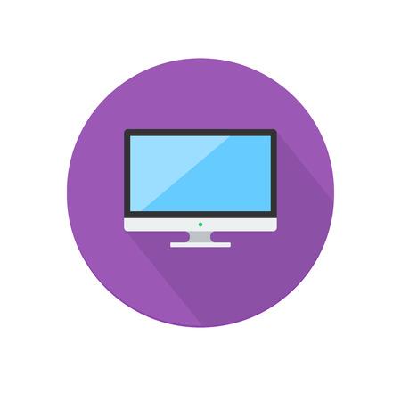 Piso icono de la computadora larga sombra sobre fondo blanco