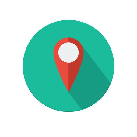 Piso icono puntero del mapa larga sombra sobre fondo blanco