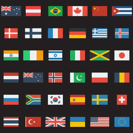 World flags vector collection. 36 detailed flag icons. Flat design. Vector