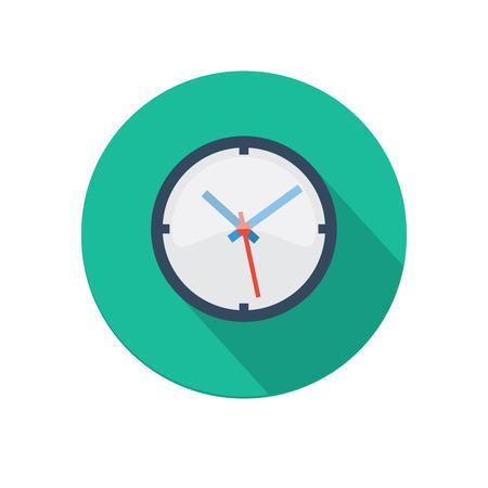 Piso icono del reloj larga sombra aislada en el fondo blanco