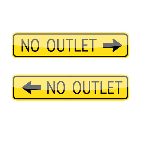 cul de sac: Set of two no outlet traffic signs isolated on white background