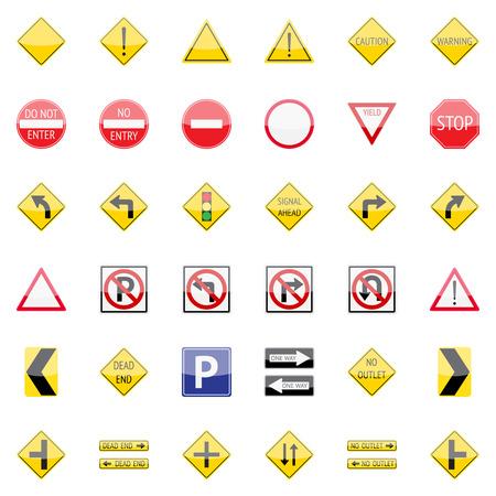 señales de transito: Las señales de tráfico del vector icono de conjunto de aplicaciones web y móviles