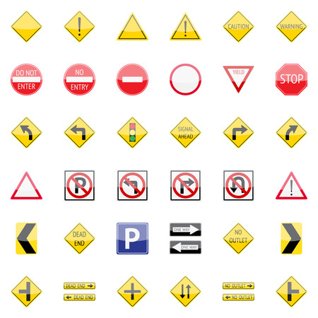 Vector traffic signs icon set for web and mobile applications Illustration