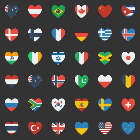 World flags collection of 36 detailed heart-shaped flag icons. Vector