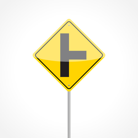 Right side road traffic sign isolated on white background Illustration