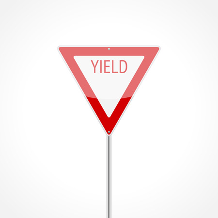 yield: Yield traffic sign isolated on white background