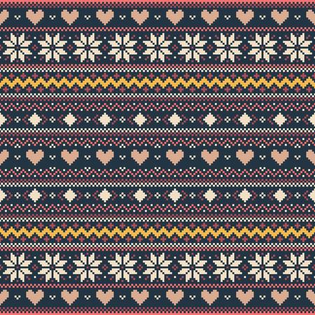 Fondo de p�xeles de invierno con corazones y copos de nieve