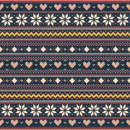 jacquard: Winter pixel background with hearts and snowflakes Illustration