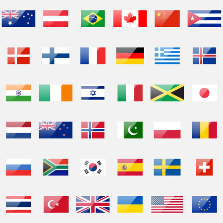 danish flag: 36 detailed glossy icons. Correct proportions and color scheme.