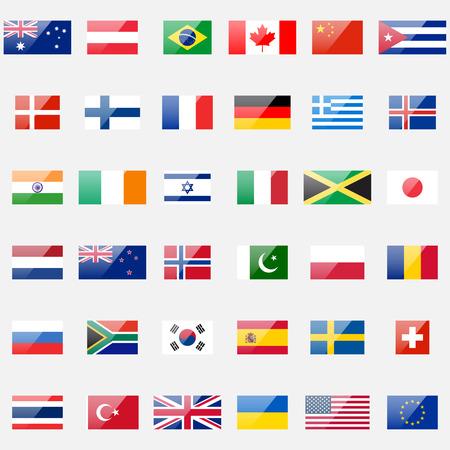 bandera: 36 iconos brillantes detalladas. Proporciones correctas y esquema de color. Vectores