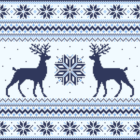 Blue winter pixel background with deer and snowflakes Vector