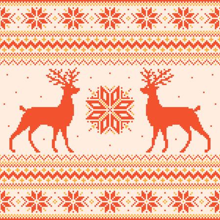 Orange winter pixel background with deer and snowflakes Vector