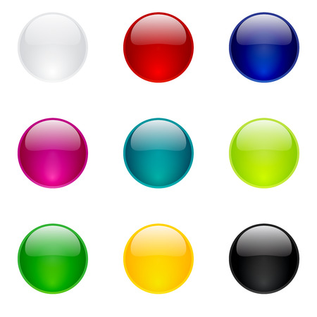 Colorful glossy round buttons collection for web and mobile apps Vector
