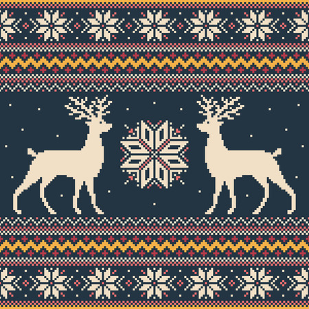 Colorful winter pixel background with deer and snowflakes Vector