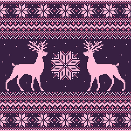 Pink winter pixel background with deer and snowflakes
