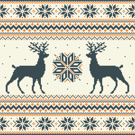 Winter pixel background with deer and snowflakes