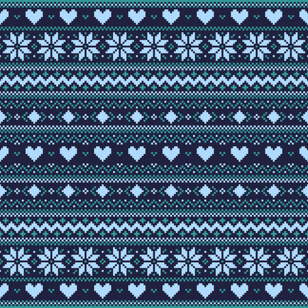 Dark blue winter pixel background with hearts and snowflakes