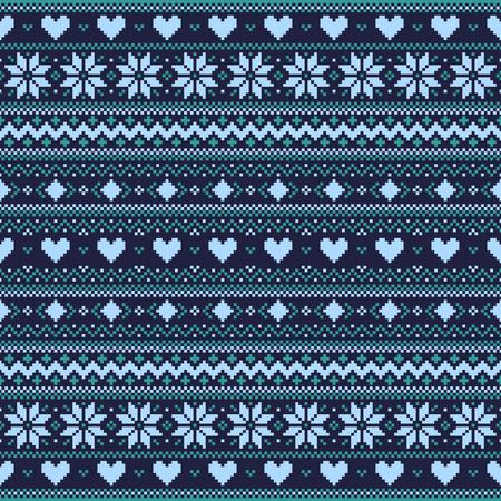 azul turqueza: Fondo p�xel azul invierno oscuro con corazones y copos de nieve
