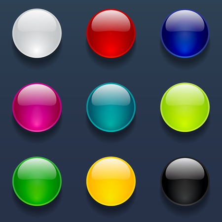 Beautiful glossy round buttons collection for web and mobile apps Vector