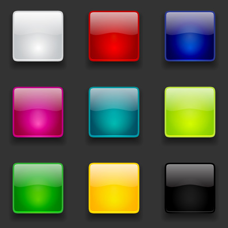 Colorful glossy square buttons collection for web and mobile apps Vettoriali