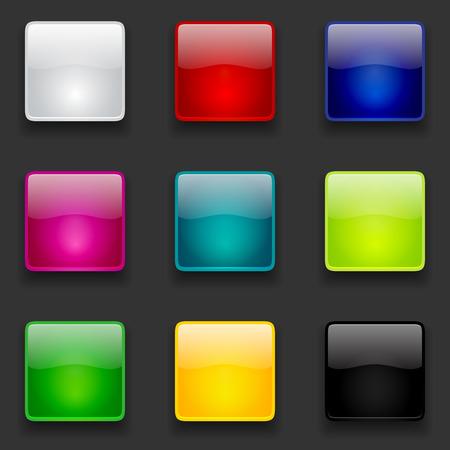 Kleurrijke glanzende vierkante knoppen collectie voor web en mobiele apps Stock Illustratie