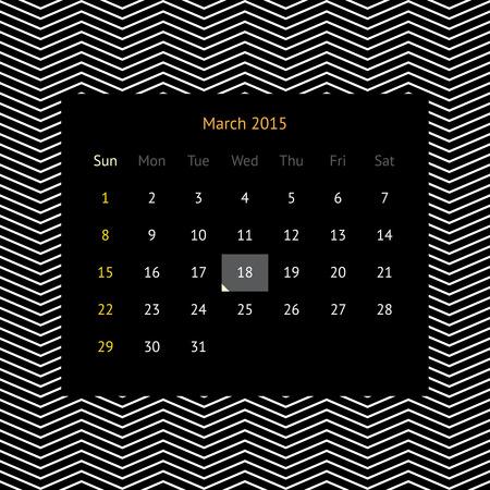 P�gina del calendario minimalista simple para marzo de 2015 sobre fondo abstracto oscuro con zigzags