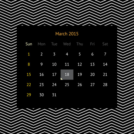 Simple minimalistic calendar page for March 2015 on abstract dark background with zigzags Illustration