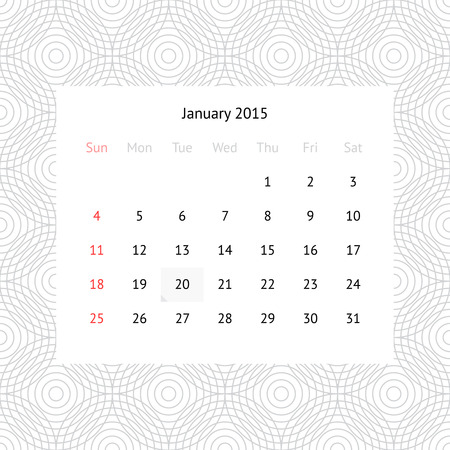 Simple minimalistic calendar page for January 2015 on monochrome background with circles Vector