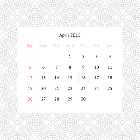 Simple minimalistic calendar page for April 2015 on monochrome background with circles Vector