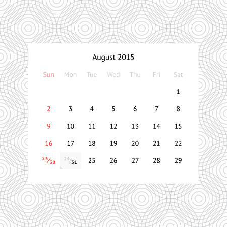Simple minimalistic calendar page for August 2015 on monochrome background with circles Vector