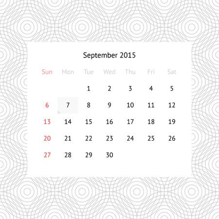 P�gina del calendario minimalista simple para septiembre de 2015 sobre fondo blanco y negro con c�rculos Vectores
