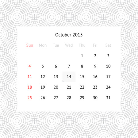 Simple minimalistic calendar page for October 2015 on monochrome background with circles
