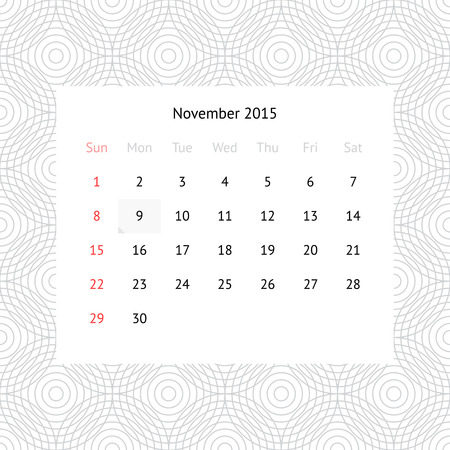 Simple minimalistic calendar page for November 2015 on monochrome background with circles Vector