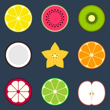 Colorful flat fruit icon set for web and mobile apps Vector