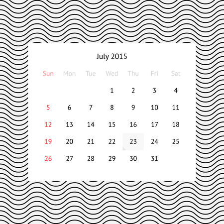 Minimalistic calendar page for July 2015 on abstract background with waves