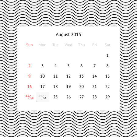 event planner: Minimalistic calendar page for August 2015 on abstract background with waves Illustration