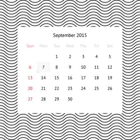 event planner: Minimalistic calendar page for September 2015 on abstract background with waves