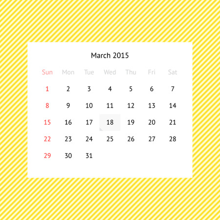 event planner: Simple minimalistic calendar page for March 2015 on abstract yellow striped background
