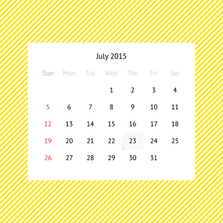 Simple Minimalistic Calendar Page For July 2015 On Abstract Yellow