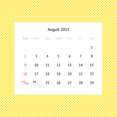 event planner: Simple minimalistic calendar page for August 2015 on abstract yellow striped background
